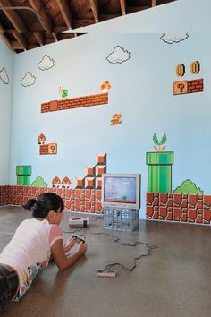 No, you havent been eating those Magic Mushrooms. You can really get some cool Nintendo wall graphics. Super Mario Brothers decals fits in perfectly in any kids bedroom or game room. Super Mario Bros, Super Mario Brothers, Decoration Tumblr, Decoration Bedroom, Room Decor, Wall Stickers, Wall Decals, Wall Art, Mario E Luigi