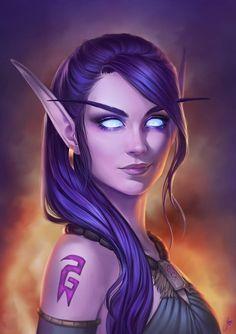 Fantasy Women, Dark Fantasy Art, Fantasy Girl, Fantasy Artwork, World Of Warcraft Game, Warcraft Art, World Of Warcraft Characters, Elfa, Fantasy Character Design