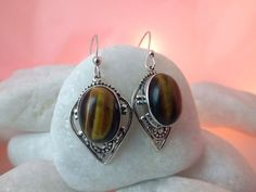 Tiger eye and Sterling silver earrings.