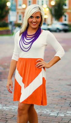 """""""Molly"""" Dress.  $39.99.  S, M, L.  Shown in Orange/White.  Great for GameDay!  Go Clemson Tigers!  Go Gators!  Go Vols!  Available at 105 West Boutique in Abbeville, SC.  (864) 366-WEST.  Shipping $5."""