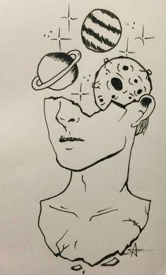 drawings of sketches Space Drawings, Pencil Art Drawings, Cool Art Drawings, Doodle Drawings, Art Drawings Sketches, Easy Drawings, Doodle Art, Cool Drawings Tumblr, Tumblr Sketches