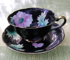 Merit Occupied Japan Tea Cup | ... Tea Cup and Saucer Black and Gold and Floral Made in Occupied Japan