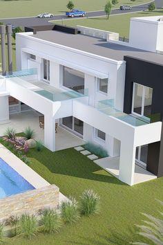 A&E – Arquitectura y Emprendimientos - Best Home Deco Modern Home Design, Modern Exterior House Designs, Exterior Design, Modern House Facades, Modern Architecture House, Modern House Plans, Interior Architecture, Two Story House Design, House Front Design