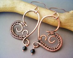 Wire Wrapped Heart Copper Earrings  wire wrapped by GearsFactory, €17.00