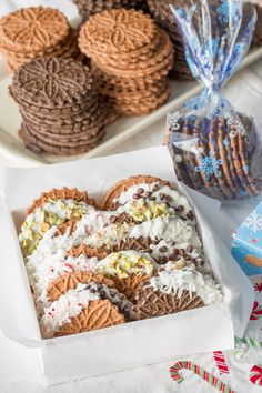 Chocolate Pizzelles dipped in white chocolate with peppermint, walnuts, chocolate chips, coconut and pistachios Pizzelle Cookies, Cookies Et Biscuits, Almond Cookies, Holiday Desserts, Holiday Baking, Christmas Baking, Italian Christmas, Holiday Foods, Sweets