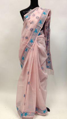 Cotton Lucknowi Saree - Light Pink