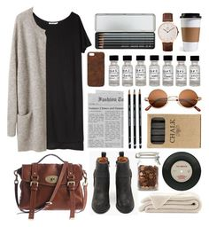 """Grey"" by hanaglatison ❤ liked on Polyvore featuring T By Alexander Wang, Jeffrey Campbell, Mulberry, Caran D'Ache, Maison Takuya, Jayson Home and Daniel Wellington"