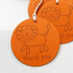 Lion Birthday Tags Thank You - Set of 8 - Custom Colors Available - Lion Party Favor Tags Safari Party Zoo Birthday