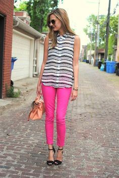 See Jane. - I love this striped blouse paired with the pink hot pants!