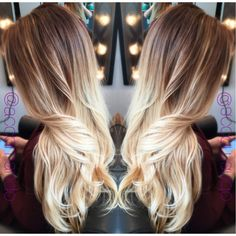 Blonde ombre. Balayage. Color melting. Long Hair. Hand painted by Lindsay Accomando from Rock/Paper Beauty Lounge in Roanoke, VA. @la1001