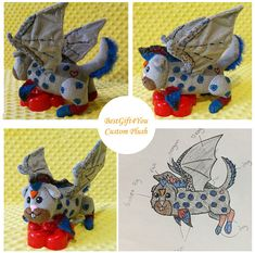 Toy made from drawing. Dragon commissioned plush, anything plushie, chupakabra ,pokemon plush , plush commission,    custom plush