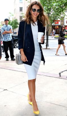 Jessica Alba in a white sheath dress navy blazer and yellow pumps - click through for more summer outfit ideas!