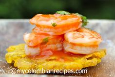 Patacones con Ceviche de Camarón (Fried Plantain with Shrimp Ceviche)