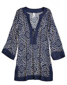 tunic dyed by Balinese artists Batik Fashion, Indian Fashion, Womens Fashion, Indian Attire, Kurta Designs, Dress Patterns, Plus Size Fashion, Tunic Tops, Clothes For Women