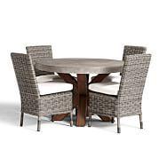 Geneva Concrete Round Dining Table & Huntington Dining Chair Set   Pottery Barn