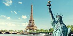 Statue of Liberty on Swan Island & Eiffel Tower, PARIS