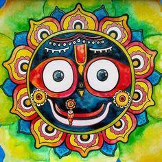 Lord Jagannath Madhubani Art, Madhubani Painting, Lord Jagannath, Symbolic Art, Buddha Sculpture, Lord Krishna Images, Krishna Painting, India Art, Dot Art Painting