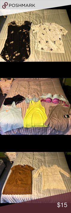 Shirts, jackets, jeans, workout clothes! *****ATTENTION LADIES*****  I still have clothes I'm trying to sell for really good prices! Most are brand new, the rest are barely worn. 90% are name brand (Nike, Forever 21, Calvin Klein, VS, etc.).   Sizes range from medium to large to XL. Feel free to message or comment for sizes on specific items.  In regards to pricing: jeans — $12 each shoes — $10 each shirts — range from $5-$10   Happy shopping! 😊 Nike Tops Blouses