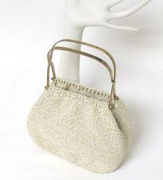 Vintage Cream & Gold Thread Crochet Hinged Frame Evening Bag w/ Clear Lucite Bottom