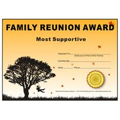 Family Reunion Hut - Most Supportive Award: Down South Theme Free Family Reunion Certificate Template