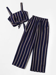 Plus Knot Front Striped Top & Pant Cute Comfy Outfits, Cute Girl Outfits, Cute Summer Outfits, Pretty Outfits, Cool Outfits, Girls Fashion Clothes, Teen Fashion Outfits, Simple Work Outfits, Crop Top And Shorts