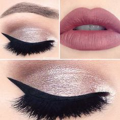Rose gold eyes with a perfect cat eye and matte red lipstick | www.bold-in-gold.com   #boldingoldblog