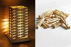 Lámpara hecha con pinzas.
