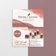 Watercolor Personalized Young Living Cards, Essential Oil Cards YL68– ToboArt