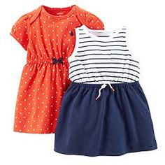 Baby Girl Carter's Stripe and Polka-Dot Dress Set