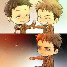 Cute shingeki no kyojin Attack on titan Chibi Jean Kirschtein Marco Bodt Attack On Titan Jean, Attack On Titan Ships, Attack On Titan Fanart, Anime Ai, Sad Anime, Manga Anime, Anime Chibi, Otaku, Levi X Eren