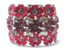 Pink & Silver Three line crystal and acryl fashion flowers stretch bracelet