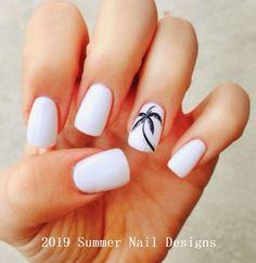 There are three kinds of fake nails which all come from the family of plastics. Acrylic nails are a liquid and powder mix. They are mixed in front of you and then they are brushed onto your nails and shaped. These nails are air dried. Tropical Nail Designs, Beach Nail Designs, Cute Summer Nail Designs, Cute Summer Nails, White Nail Designs, Nail Art Designs, Summer Beach Nails, Beach Nail Art, Beach Vacation Nails