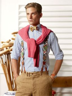 Polo Ralph Lauren tweed trousers, madras braces, yellow bow tie, salmon pink cable-knit sweater, striped button-down shirt