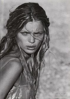 """""""Zabriskie Pt."""": Esther Cañadas by Peter Lindbergh for Vogue Italia March 1998"""