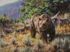 """""""Traveling the Divide"""" grizzly bear oil/board by Brian Grimm. please contact the artist. Wildlife Paintings, Wildlife Art, Bear Drawing, Charcoal Sketch, Bear Wallpaper, Southwest Art, Commercial Art, Bear Art, Western Art"""