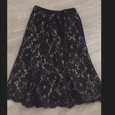 Black and nude lace skirt size 2 Black and nude lace skirt size 2 Ann Taylor Skirts Midi