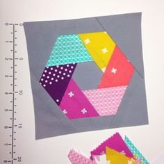 """Fun """"Woven Hexagon"""" block made by Stacey Lee O'Malley of SLOstudio, from the paper piecing pattern she drew herself: http://ecoslo.tumblr.com/post/101255703437/foundation-paper-piecing-hexagons-i-had-an-idea"""