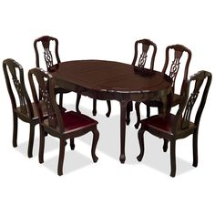 French Style Rosewood Dining Set with Oval Table and 6 Chairs - Contemporary Hardwood Dining Room Furniture