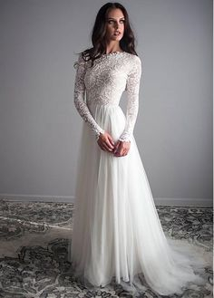 """If the words """"gorgeous long sleeve wedding dress"""" set your heart racing, you're in for a treat. Find your perfect long-sleeve wedding dress! Long Wedding Dresses, Bridal Dresses, Wedding Gowns, Party Dresses, Vintage Boho Wedding Dress, Tulle Wedding, Lace Weddings, Online Wedding Dresses, Long Sleave Wedding Dress"""