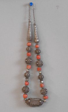 Yemen |  Antique Yemeni coin silver and coral necklace | made by Bawsani (Jewish) tribal silversmiths.