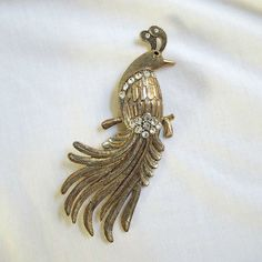 Vintage Gold Tone and Clear Rhinestone Large Bird of Paradise Brooch by MyVintageJewels, $40.00