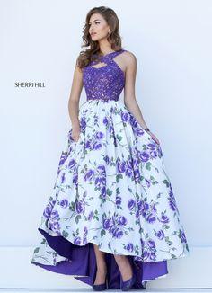 Lavender Charming Floral Printed Prom Dress sherri hill 50481