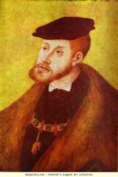 "Portrait of Charles V. 1533, Holy Roman Emperor during the reign of Henry VIII, a title he inherited when he was only 20 years old. The Hapsburgs had extremely prominent jaws (the ""Hapsburg jaw""), which was a direct result of inbreeding within the monarchy (as was common during this time, to keep territories safe and relationships between kingdoms secure). It got progressively worse with each generation. The Hapsburg dynasty eventually died out in part as a result of this monarchial…"