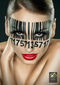 """LakeTyeDye says: Yet another contender for this year's Halloween makeup for work. Since we all have """"employee numbers"""" I'll just translate my number into a barcode. Make Up Art, How To Make, Sexy Make-up, Extreme Makeup, Special Effects Makeup, Fx Makeup, Tips Belleza, Fantasy Makeup, Creative Makeup"""