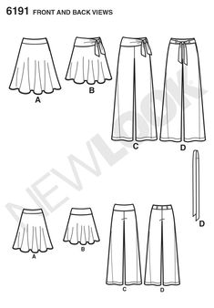 Simplicity Creative Group - Misses' Skirt, Pants and Tie Belt:
