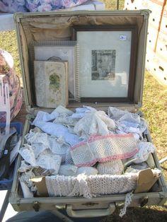 vintage lace and a vintage suitcase