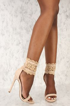 These formal single soles are a must have to have all eyes on you. Featuring, a faux suede texture, open toe, embroider lace ankle strap accent with adjustable clasp closure, and cushioned foot bed. Approximately a 4 1/2 inch heel.
