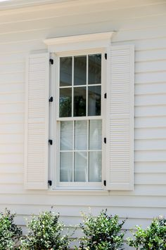 Cheap Home Decoration Stores Refferal: 1047883772 White Exterior Houses, Colonial Exterior, Cottage Exterior, Exterior Trim, White Houses, Colonial Front Door, Window Shutters Exterior, Farmhouse Shutters, White Shutters