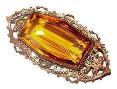 """Up for your consideration is this Art Nouveau Brooch Yellow Orange Art Glass Heart Scroll Filigree Gold Metal 2"""" Fall #jewelry #Vintage presented by Brightgems Treasures.   T... #vintage #teamlove #etsy"""