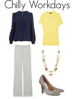 navy and yellow with gray pants